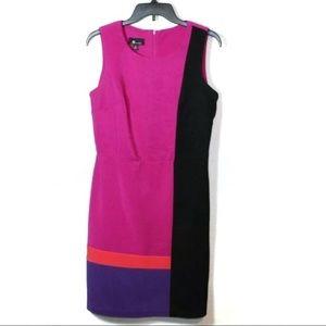 AB Studio color block pink sleeveless sheath dress